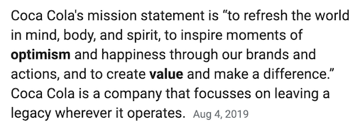 branding and advertising coca cola mission statement