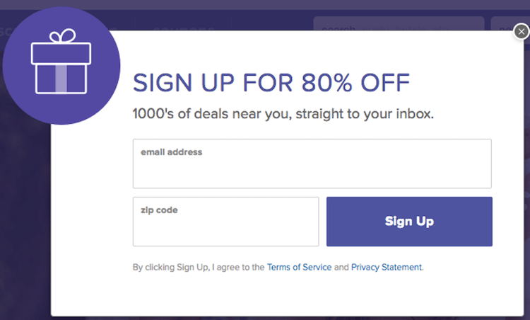 call to action examples for email newsletter signups living social