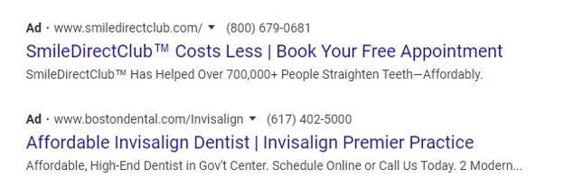 example Google ad for Invisalign