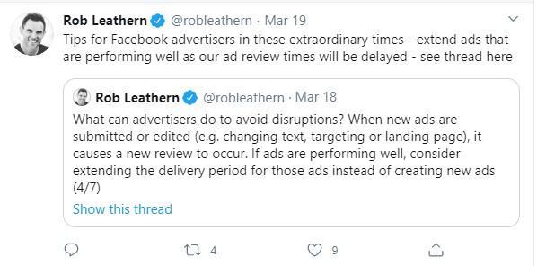 tweet about Facebook advertising