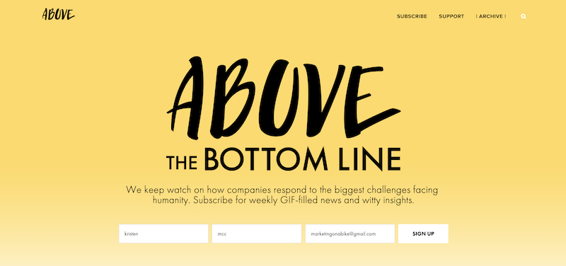 creative newsletter names above the bottom line