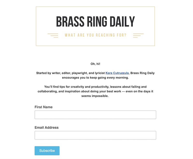 creative newsletter names brass ring daily