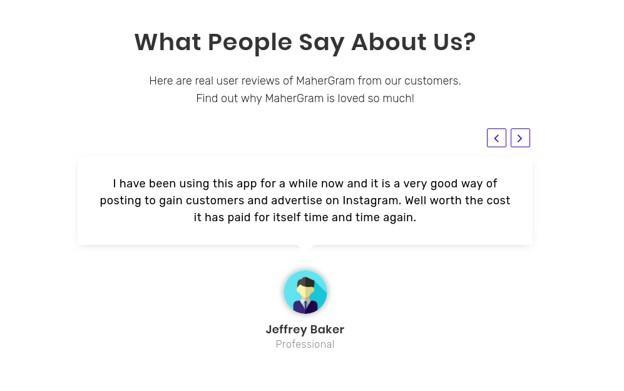 customer feedback as social proof example