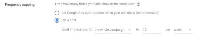 display ads frequency capping option
