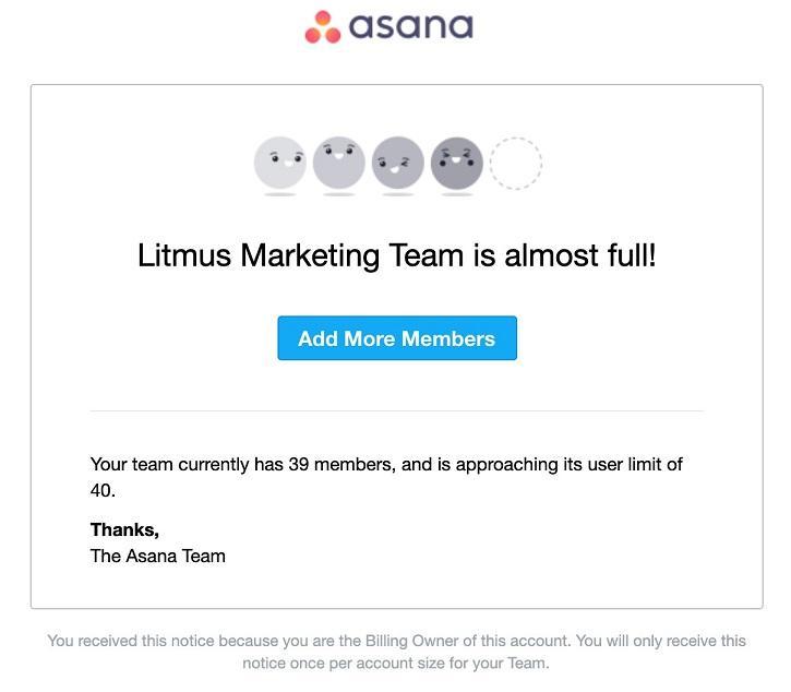 Asana email example