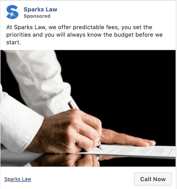 facebook click to call ads example sparks law