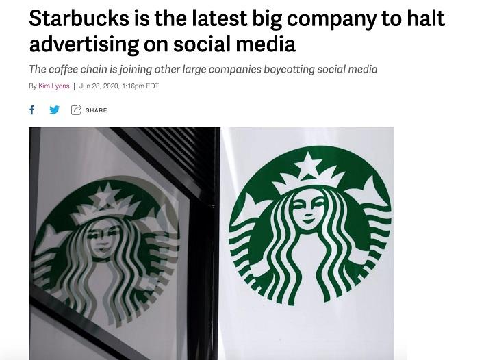 Starbucks participating in the Facebook ads boycott
