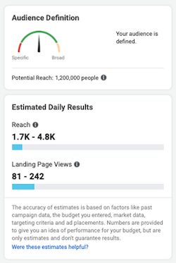facebook ads audience projection