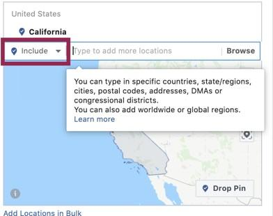 Facebook advertising geotargeting location view