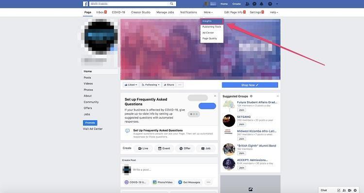Facebook Insights dashboard