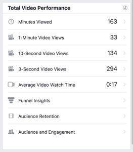 Facebook video views performance stats