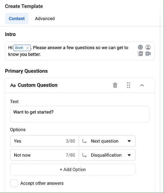 facebook messenger ad form flow setup
