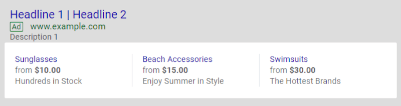 google ads price extensions sort by price
