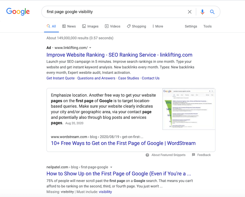 google ranking factors first page visibility