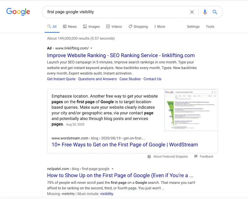 google sıralama faktörleri ilk sayfa görünürlüğü