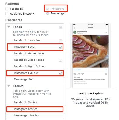 Instagram ad placement options