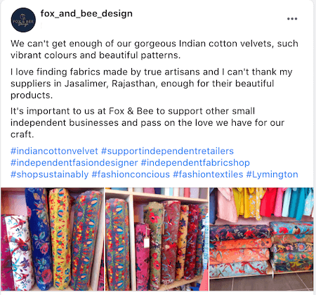 july marketing ideas facebook post showing support for independent retailers