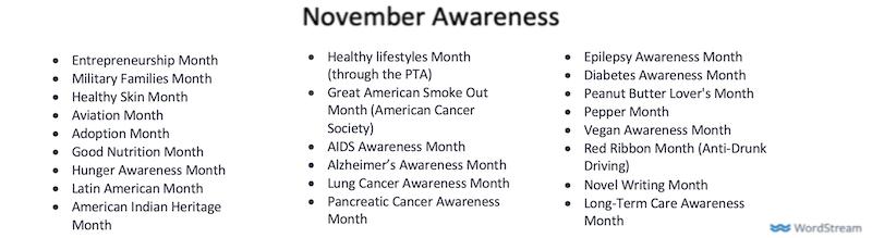 november marketing ideas november awareness