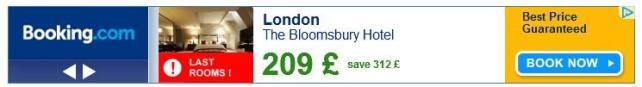 Anúncios de remarketing de banner da Bookings.com
