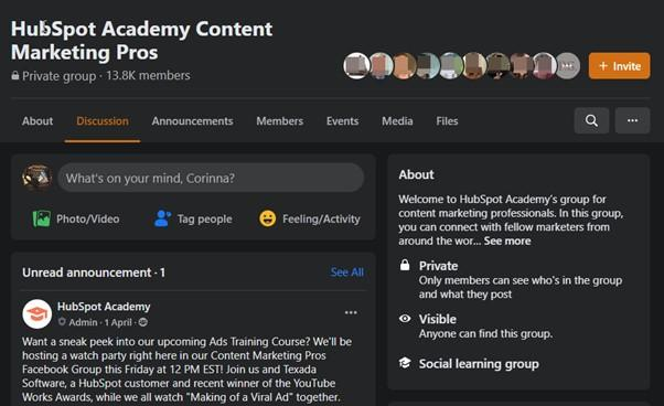 social media engagement with Facebook group example HubSpot