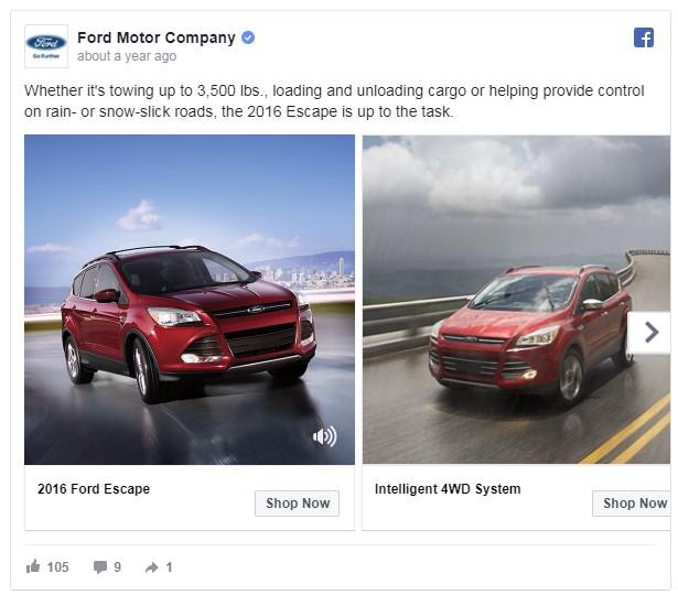 weather-based car ad on Facebook