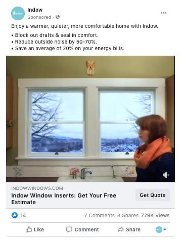weather-based Facebook ad example for winter with window