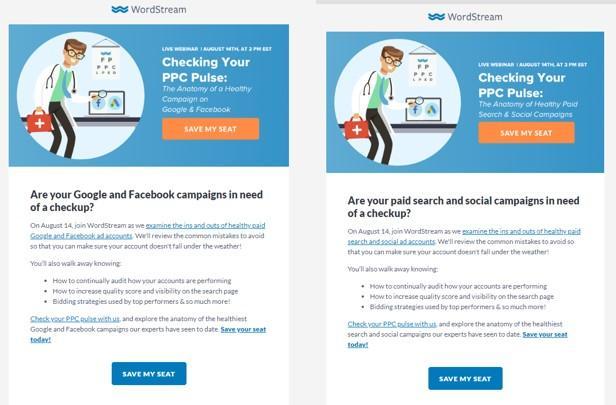 webinar marketing a/b testing example