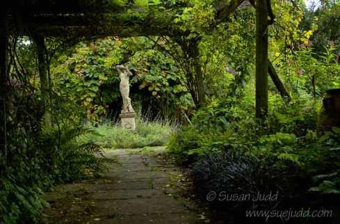Leading to a statue, Burrow Farm Garden