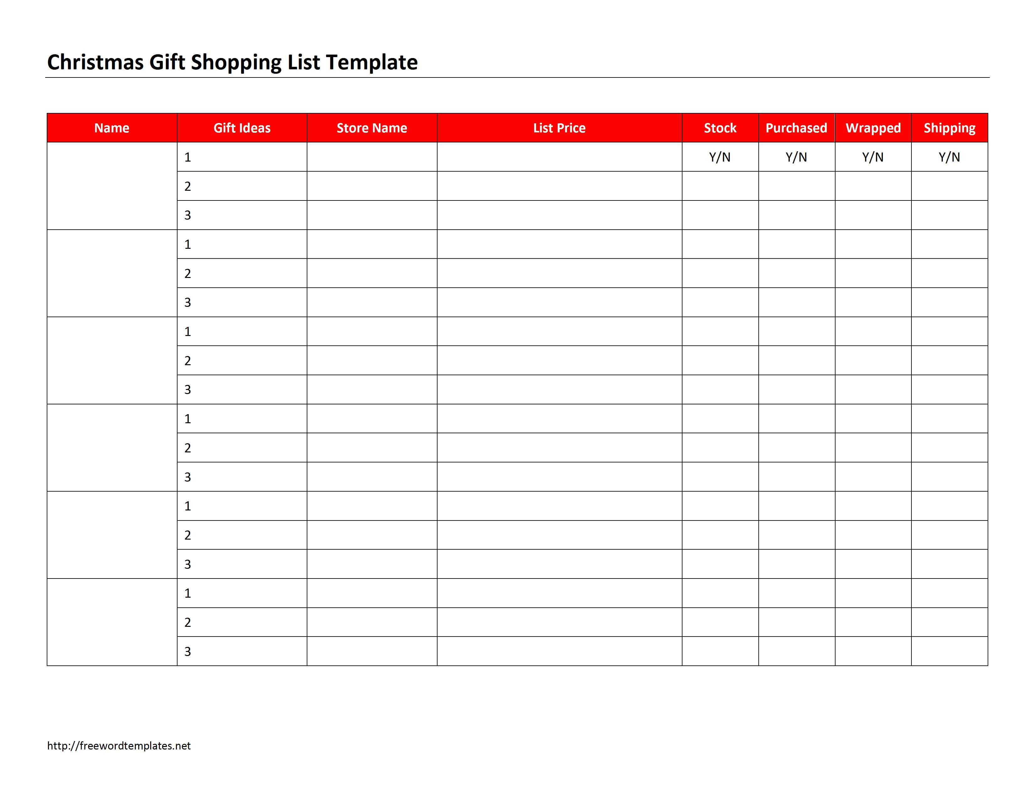 Christmas T Shopping List Template