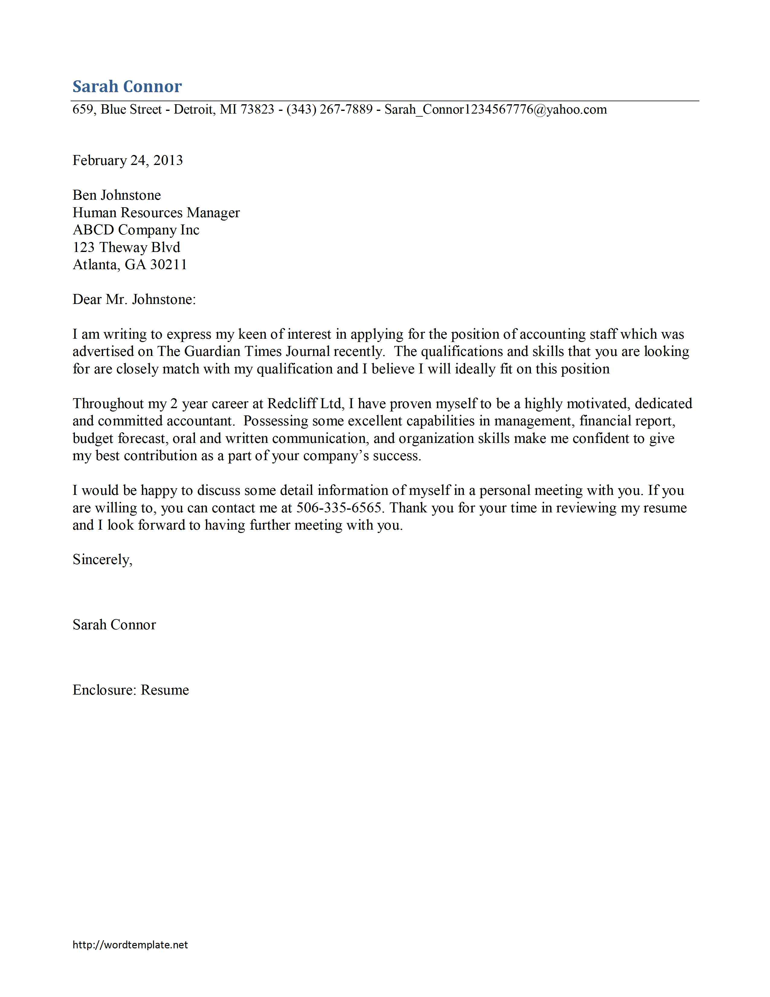 Accounting Staff Cover Letter Template