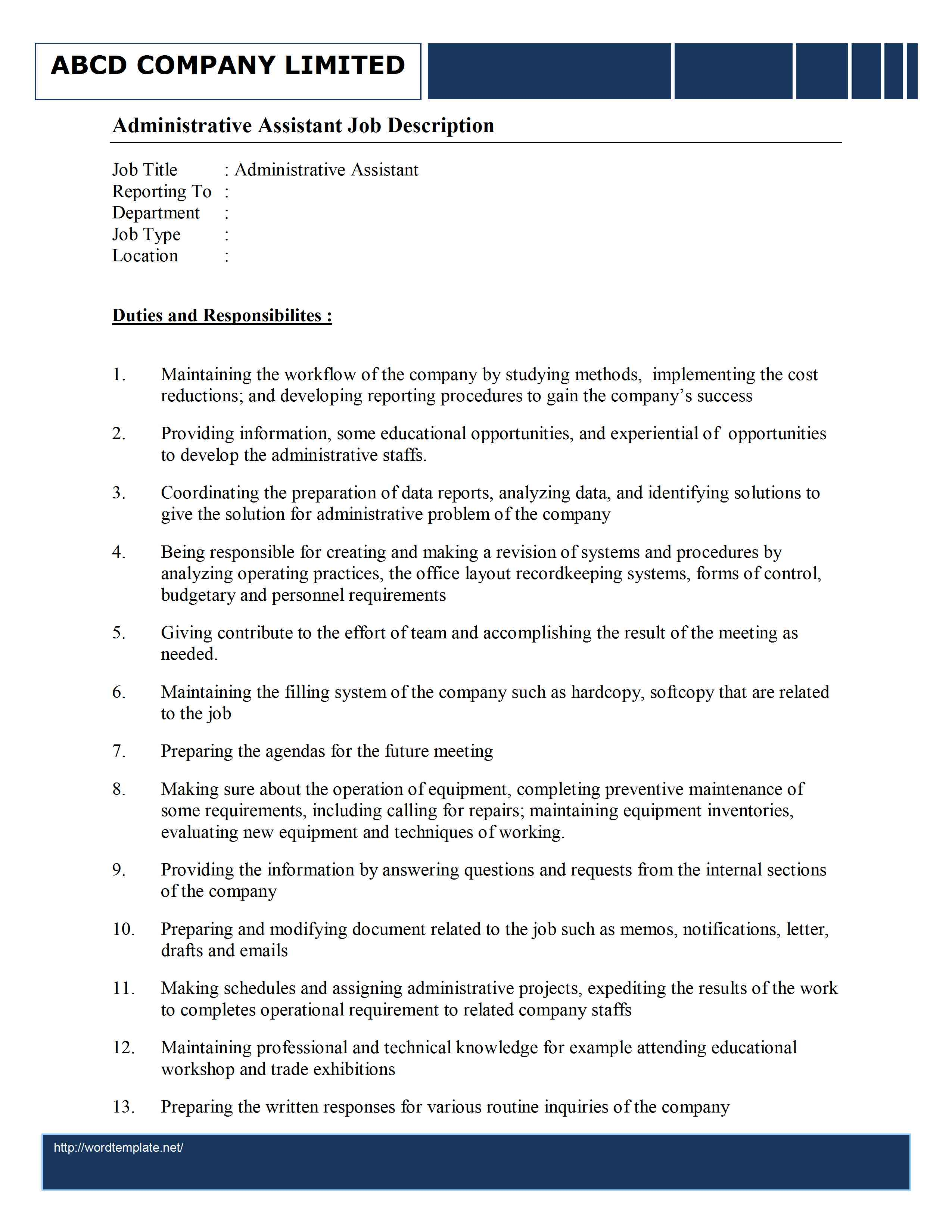 Housekeeper Contract Template. heading warehouse job resume ...