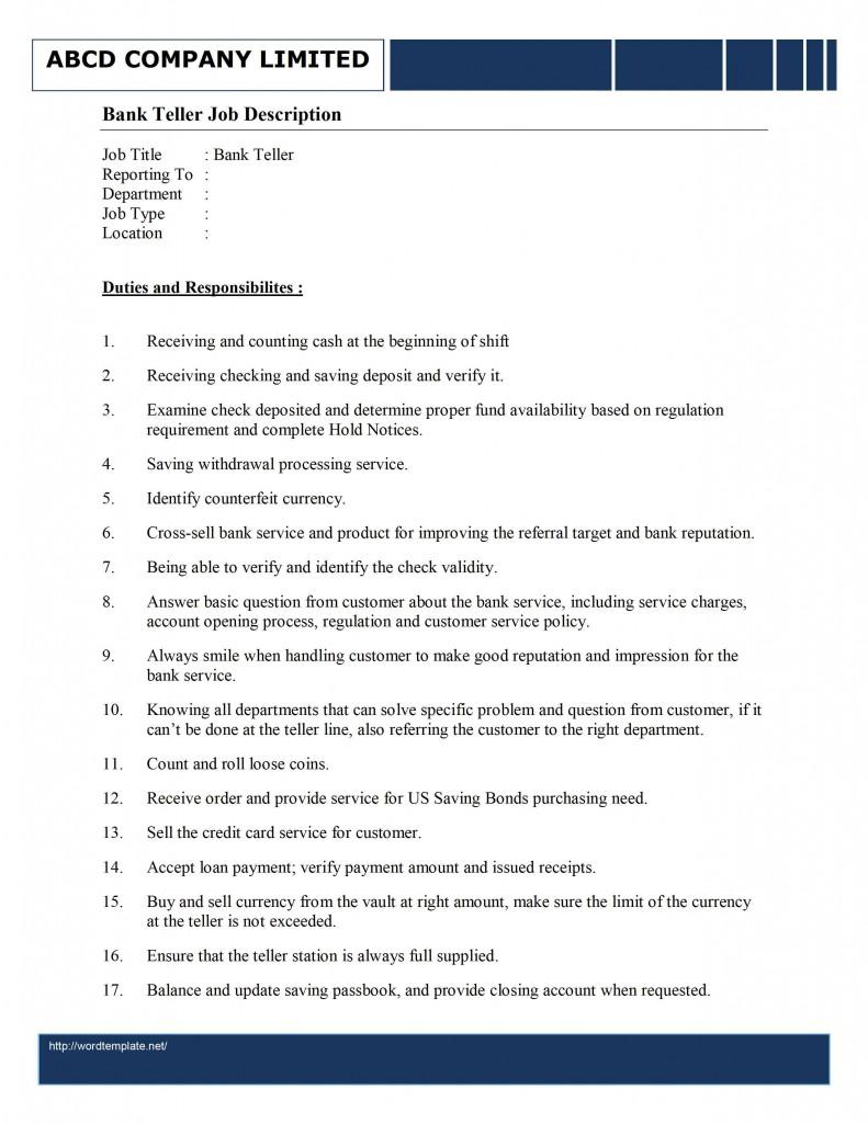 bank teller job description template free microsoft word templates