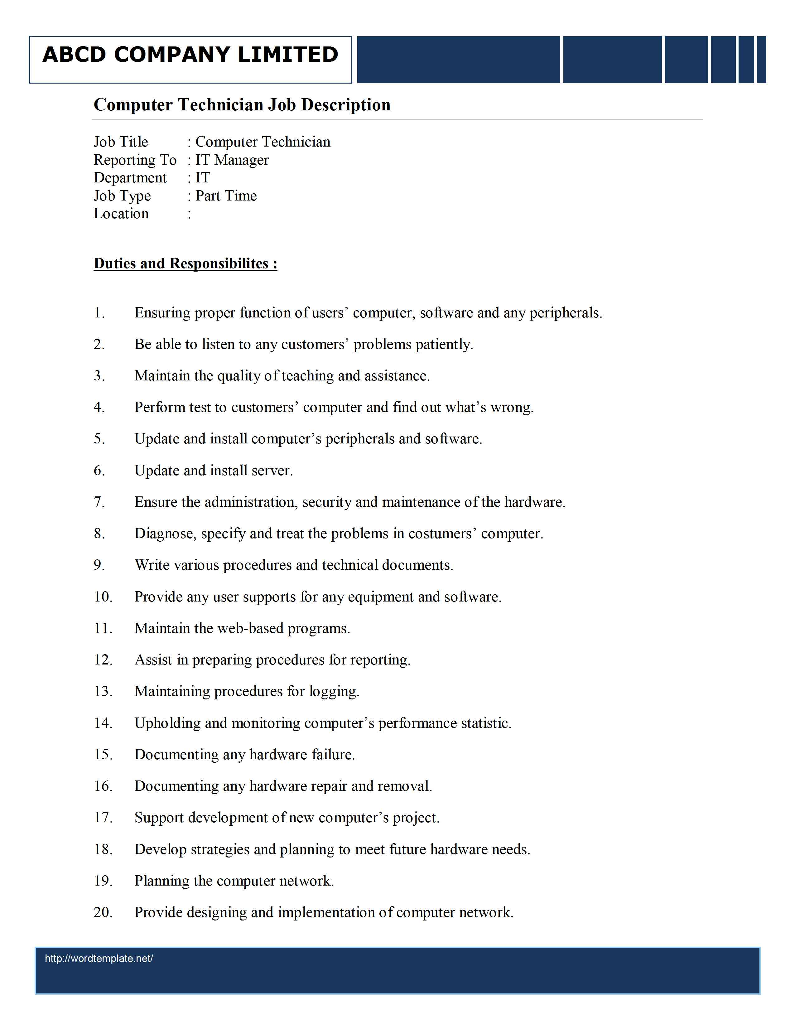 Computer Technician Resume Objectives Resume Sample Computer