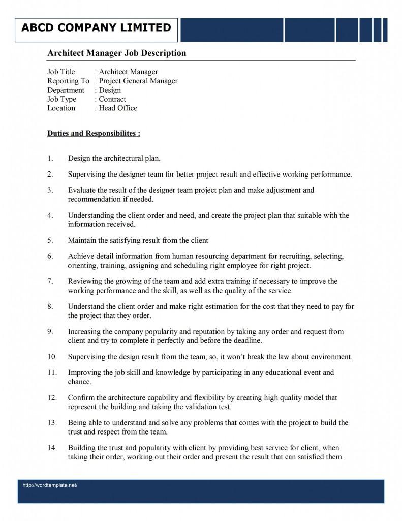 Architectural Project Manager Job Description Resume For Job – IT Project Manager Job Description