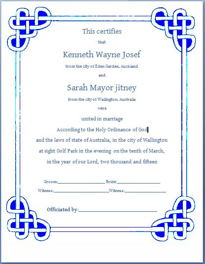 Marriage certificate template microsoft word free download yelopaper Choice Image
