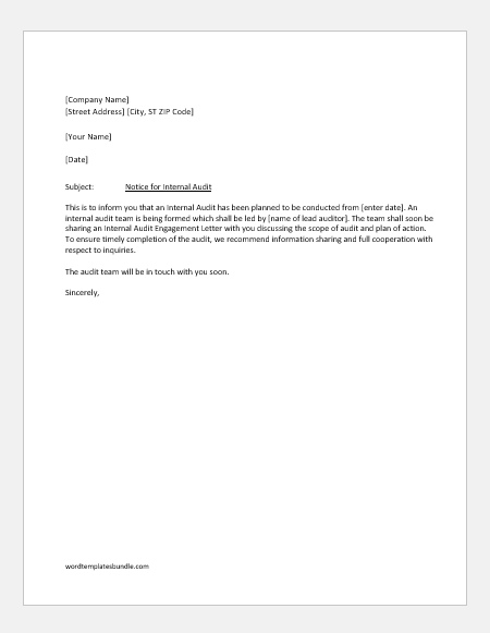 4 Miscellaneous Notification Letters For Audit