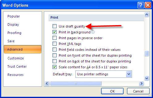 Print advanced option, use quality draft