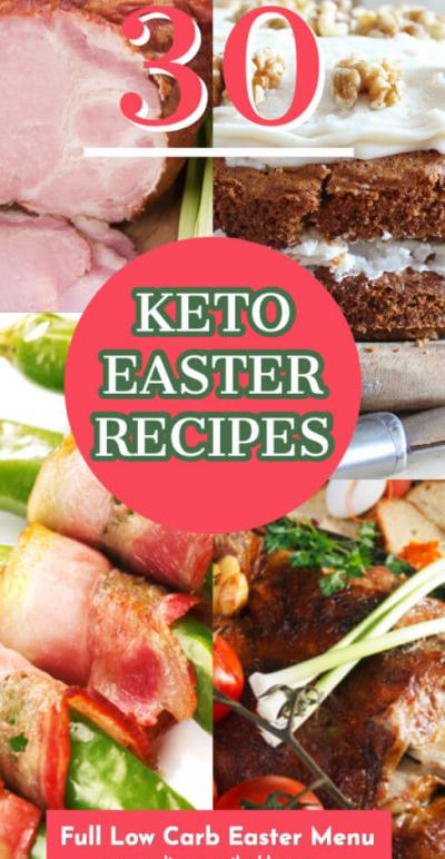 Keto Easter Recipes! The low carb recipes you need to stick to your diet & enjoy Easter dinner, brunch, breakfast, dessert & everything in between! From the best keto Easter egg candy with peanut butter & chocolate to deviled eggs, Hot Cross buns, easy breakfast frittatas, Easter treats like Carrot Cake & delicious keto Easter recipes for the main dish your low carb Easter menu is planned! #Easter #keto #lowcarbrecipes