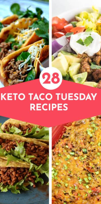 28 Keto Taco Night Recipes | Low carb taco recipes for Taco Tuesday! From the best keto taco shells, lettuce wraps, salads, and casseroles these easy keto taco recipes make fabulous family dinners! Whether you're looking for keto tacos with beef, chicken, pork, or fish or you prefer taco stuffed peppers or zucchini, you'll find a new favorite keto taco recipe in this collection! #keto #ketorecipes #lowcarb #ketotacos #tacos