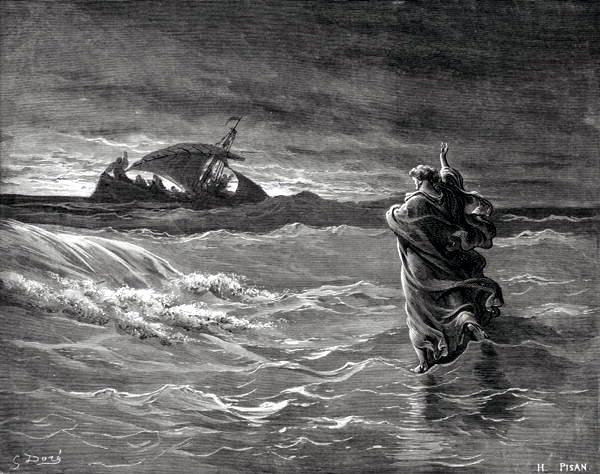 Graphic Jesus on the Sea