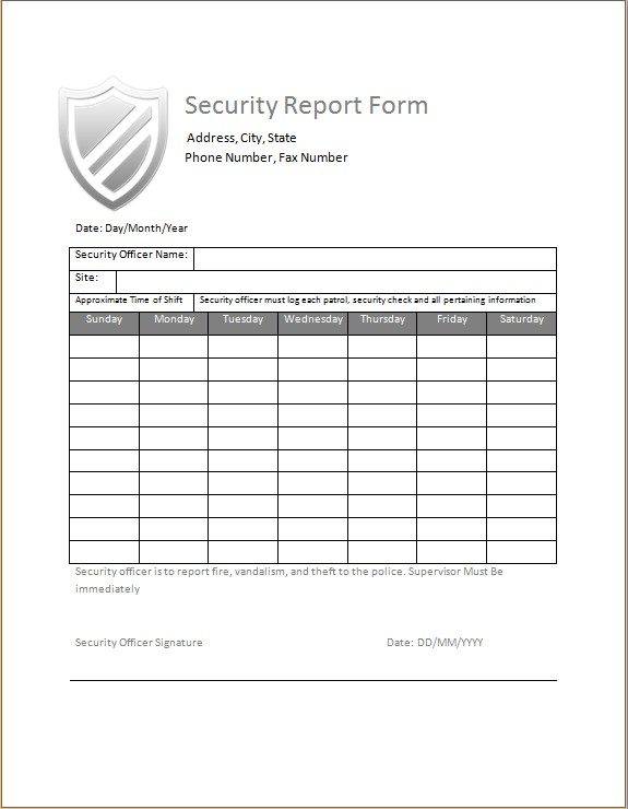 Security Guard Daily Activity Report Pdf