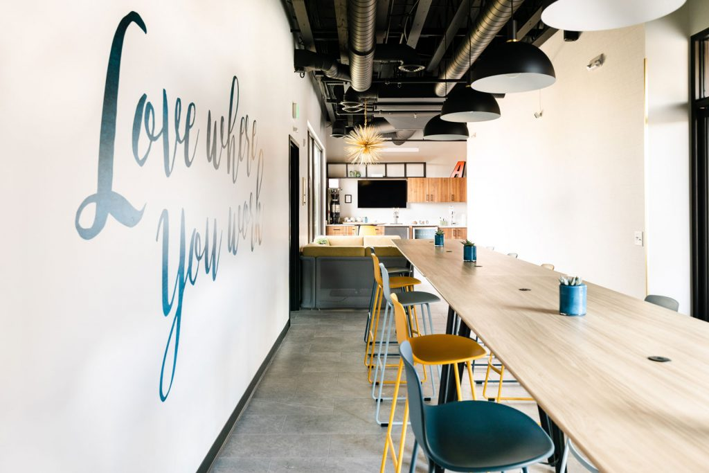 Open workspace or event space in the café at The Collective NWX
