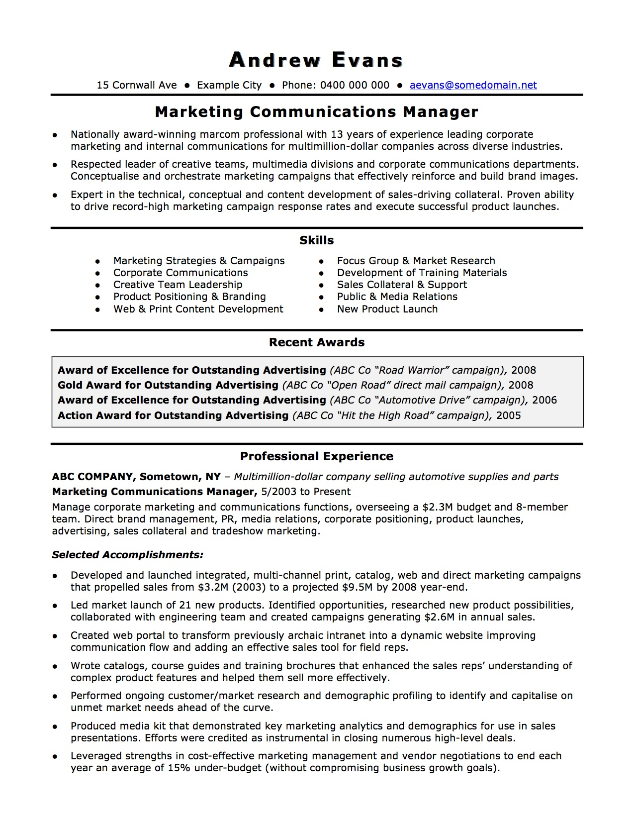 Resume Opening Statement. business letters format professional way ...