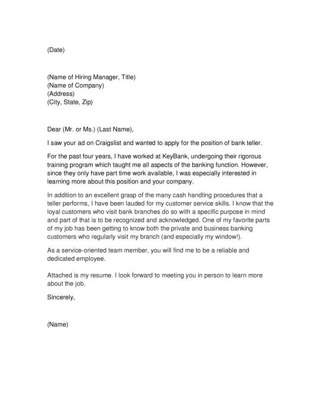 28+ [ Cover Letter Bank Manager Position ] | bank teller ...