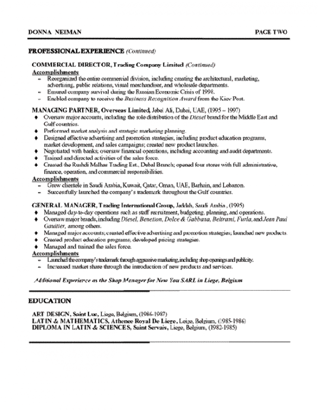 Brand Manager Resume Page 2