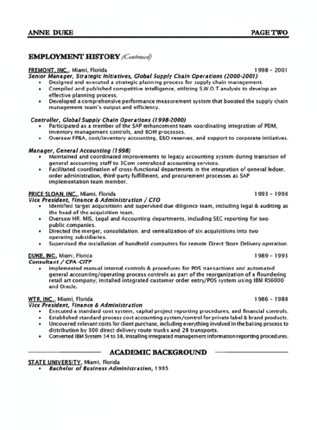 CFO Resume