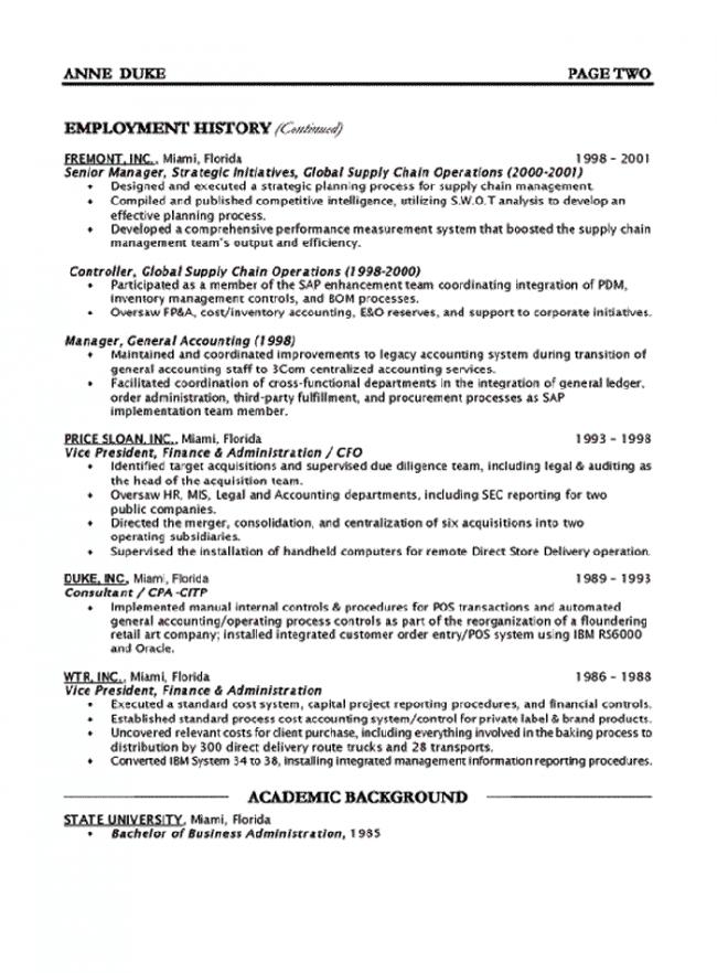 CFO Resume Page 2  Cfo Resume