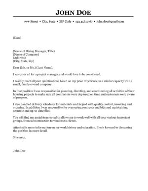 Construction Project Manager Cover Letter Sample