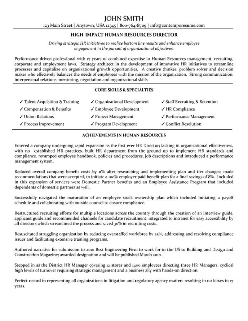 combination resume sample human resources generalist pg1 old version combination