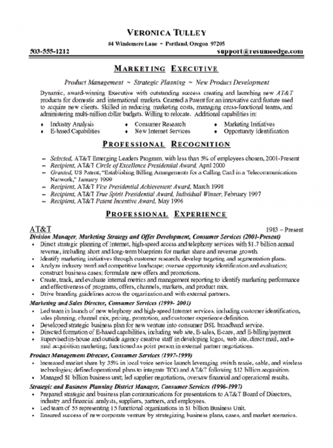 resume marketing executive